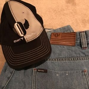 Outkast jeans shorts denim and hat Cap south new